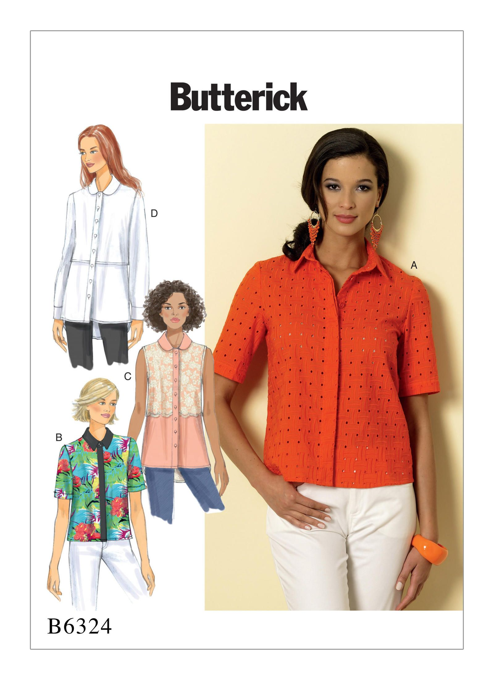 f3acf351 B6324 | Misses' Button-Down Collared Shirts Sewing Pattern | Butterick  Patterns