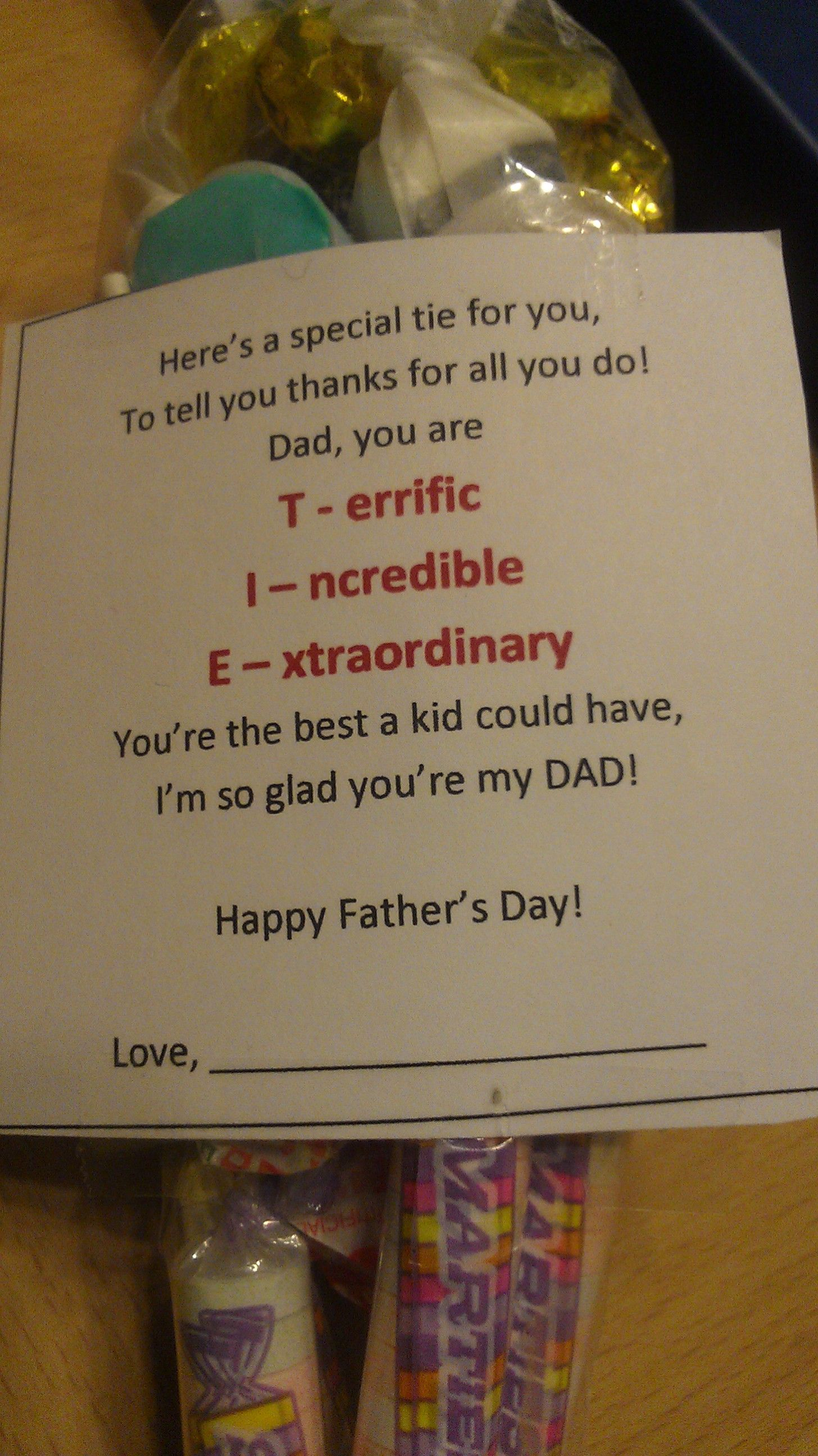 Poem For Father S Day Candy Tie En At The Bottom In