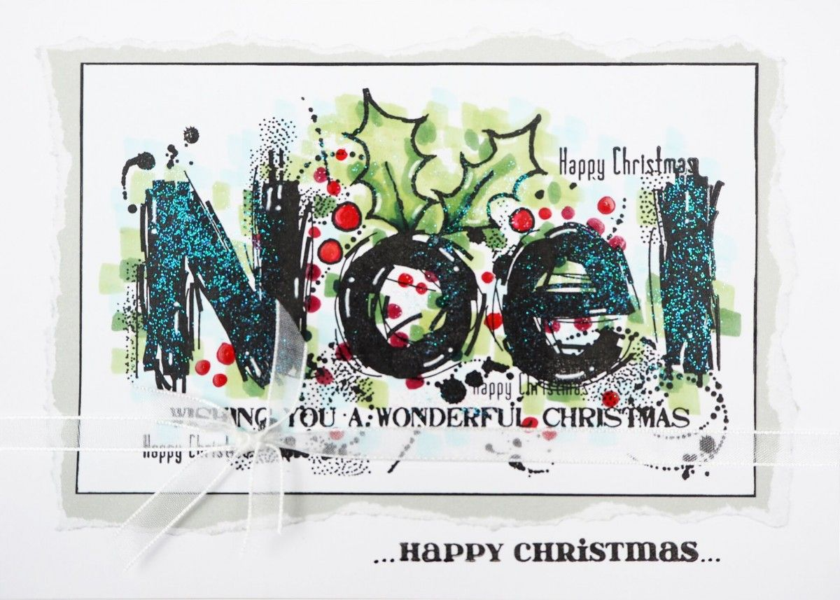 WOODWARE Clear Singles Stamps NOEL SPLODGES FRS708  Happy  Merry Christmas