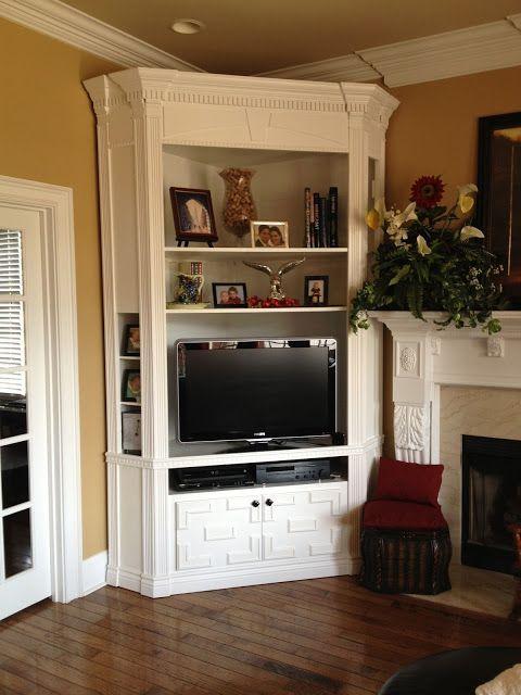 homemade built in tv stand corner tv cabinets corne rh pinterest com
