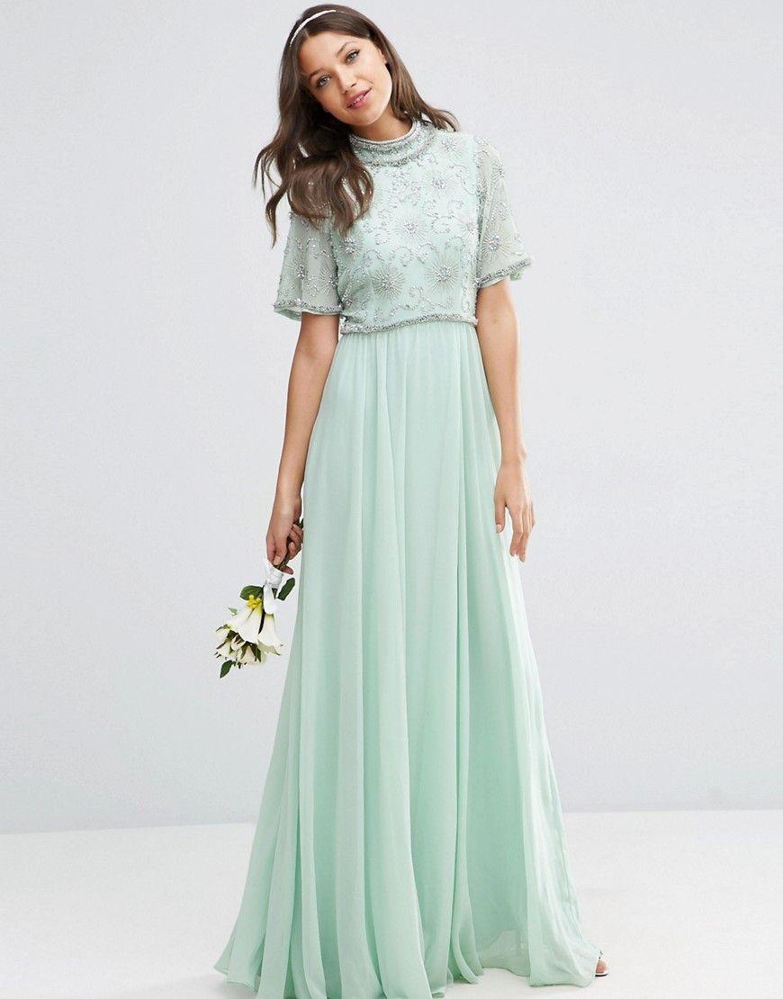 Image 4 of ASOS TALL WEDDING Embellished Crop Top Maxi Dress ...