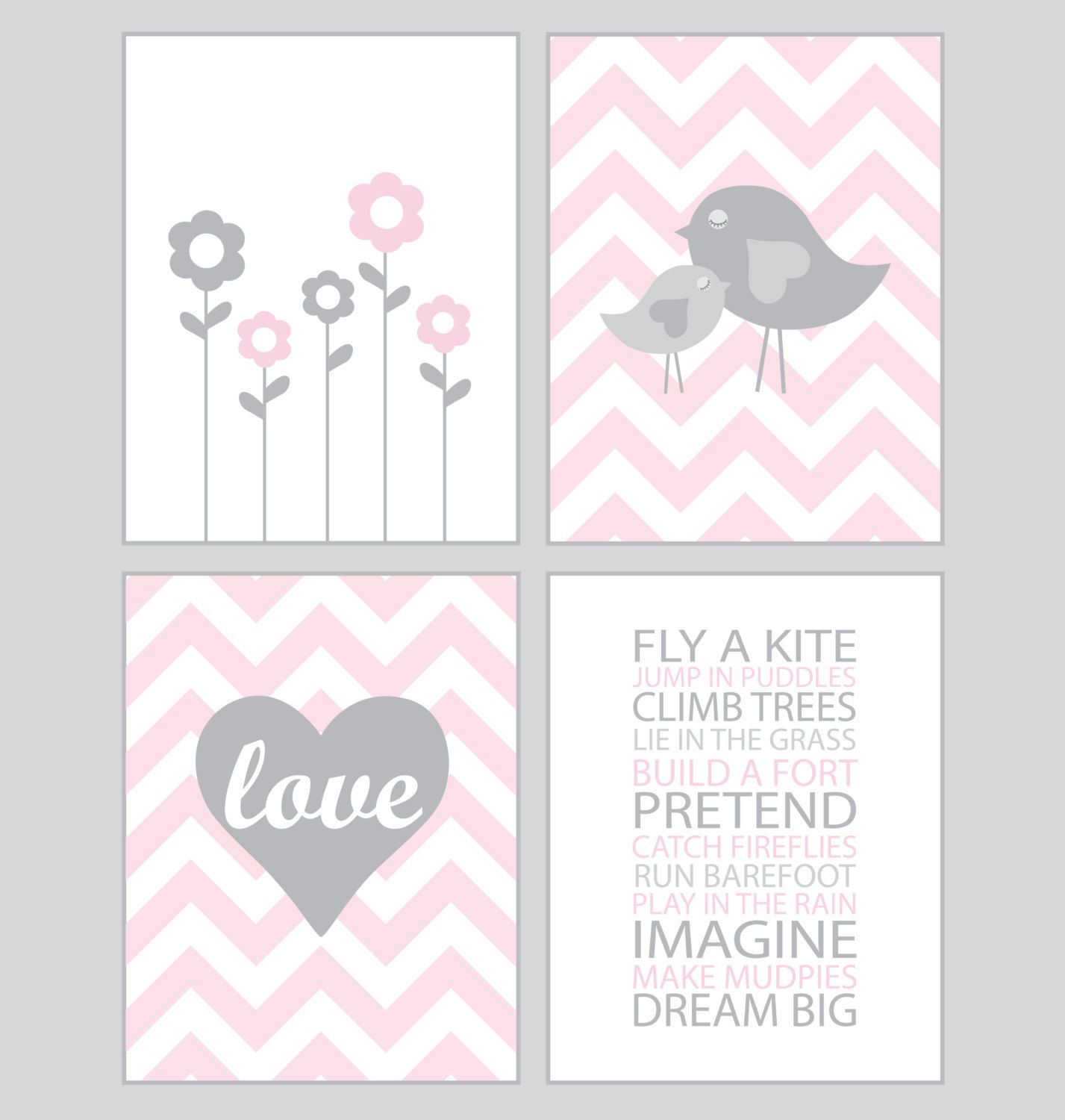 Gianna S Pink And Gray Elephant Nursery Reveal: Baby Girl Nursery Art Chevron Pink And Gray By