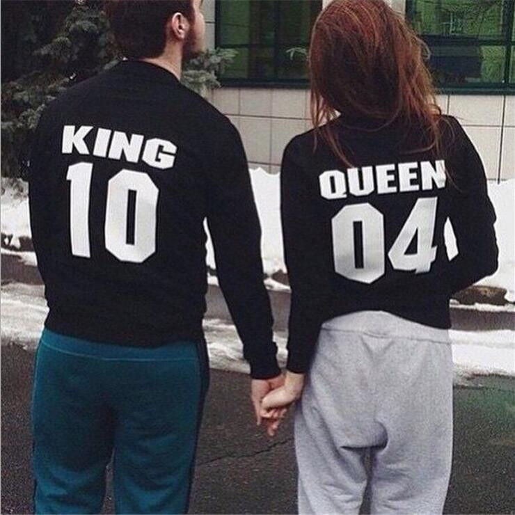 King Queen Letters Round Neck Sweater King