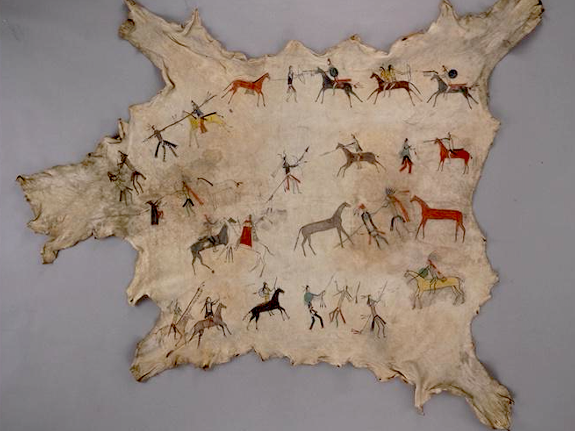 Native americans Robe with war honors mid
