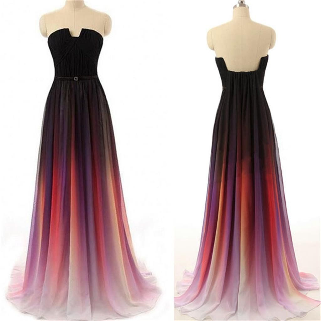 Long gradient party chiffon cheap popular prom dresses onlinepd