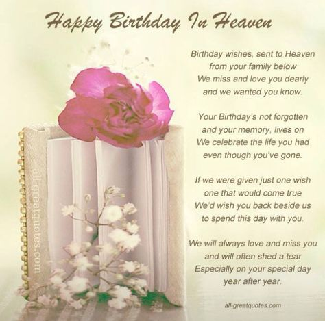 Happy Birthday In Heaven Mom We Love You Very Much And Miss You