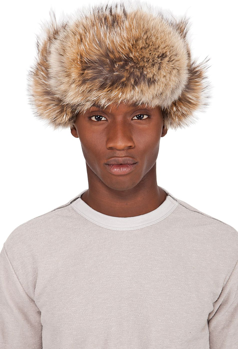26aa8c9093c2cb Canada Goose Black Coyote Fur Aviator Hat - This photo is just amazing.  Kind of a Soviet look.