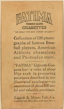 1914 Fatima (T222) #35 Eddie Murphy Back