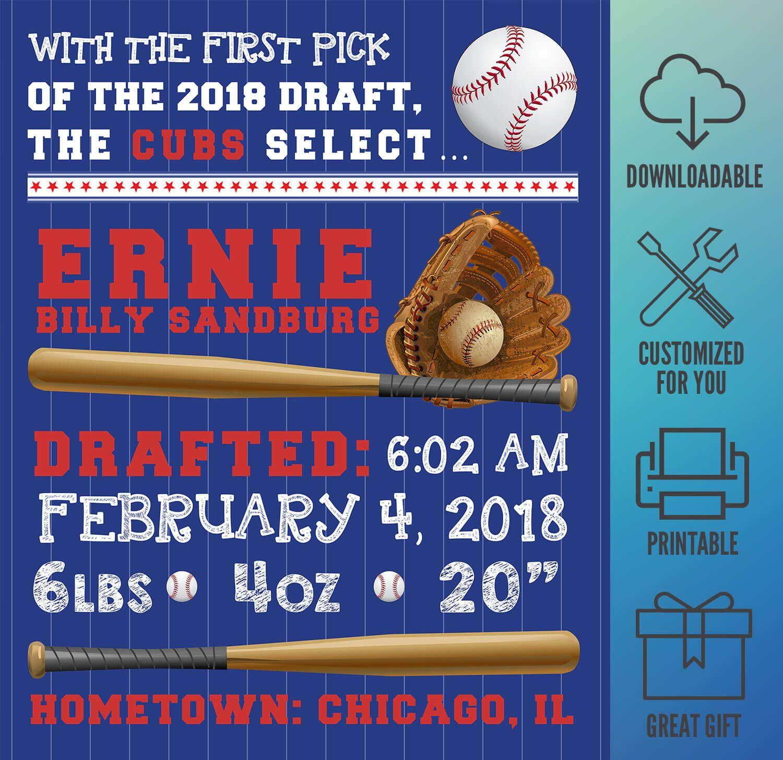 Mlb Chicago Cubs Baseball Wall Art Birth Announcement