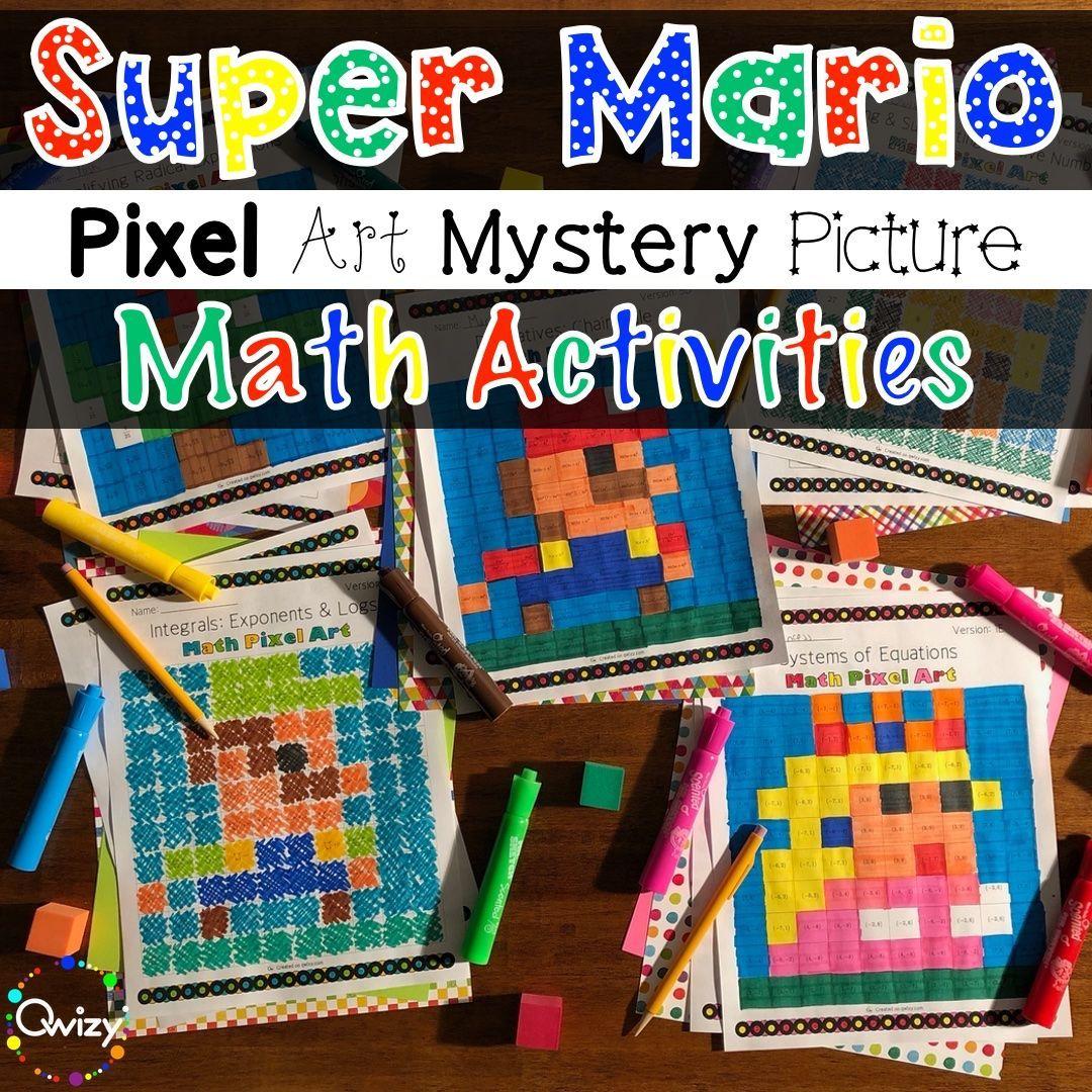 Super Mario Mystery Pictures Math Activities Math Mystery Picture Mystery Pictures Fun Math Activities [ 1080 x 1080 Pixel ]