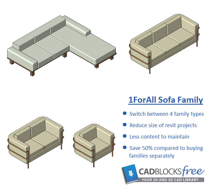 Download This 1forall Sofa Revit Family This Family Has 4 Switchable Families Including Single Seat Sofatwo Seater Sofathree Seat Revit Arquitetura Engenharia