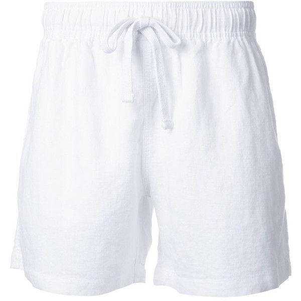 Venroy 'Lounge' shorts ($56) ❤ liked on Polyvore featuring men's fashion, men's clothing, men's shorts, white, mens white shorts, mens white linen shorts and mens linen shorts
