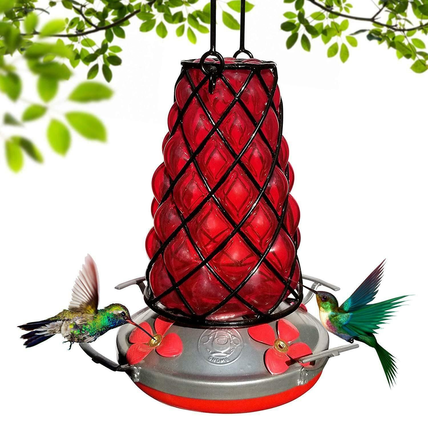 Hand Blown Glass Hummingbird Feeder Metal Cage Style in