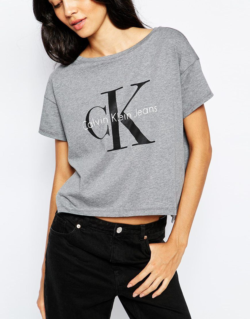Calvin Klein Jeans Cropped Boxy T-Shirt With Logo at asos.com