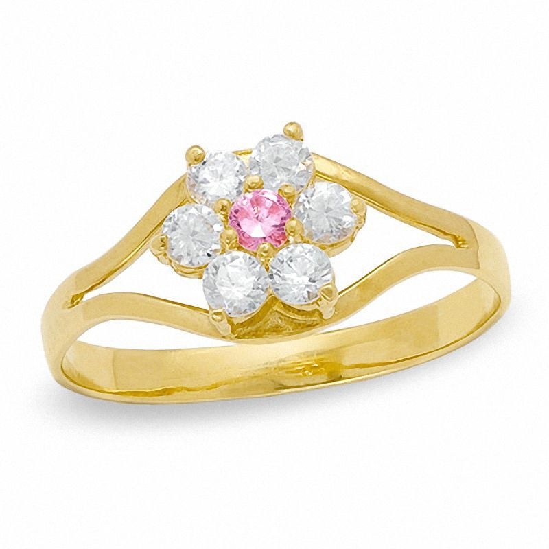 Child S Clear And Pink Cubic Zirconia Flower Ring In 10k Gold Size 3 Piercing Pagoda 10k Gold 10k Gold Ring Flower Ring