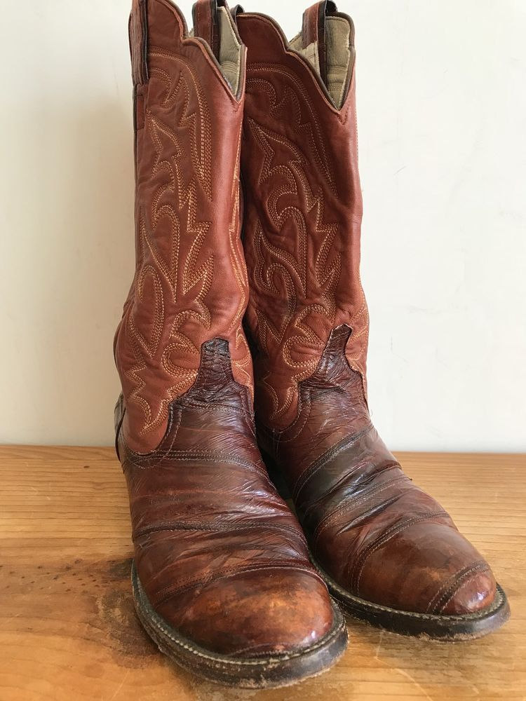 1e2b86fbff4 Eel Skin. There is a small nick on the eel skin on the right boot ...