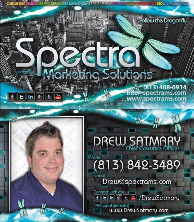 @Drew Satmary's business card Designed by Spectra Marketing Solutions.    Need business cards designed and printed? visit www.spectrams.com