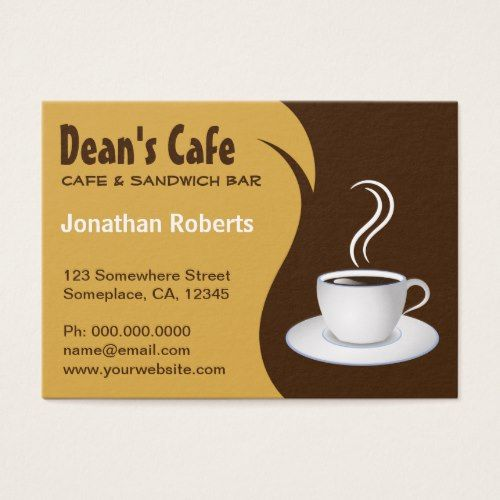 Brown and beige stylish coffee shop cafe large business card brown and beige coffee shop cafe business cards colourmoves