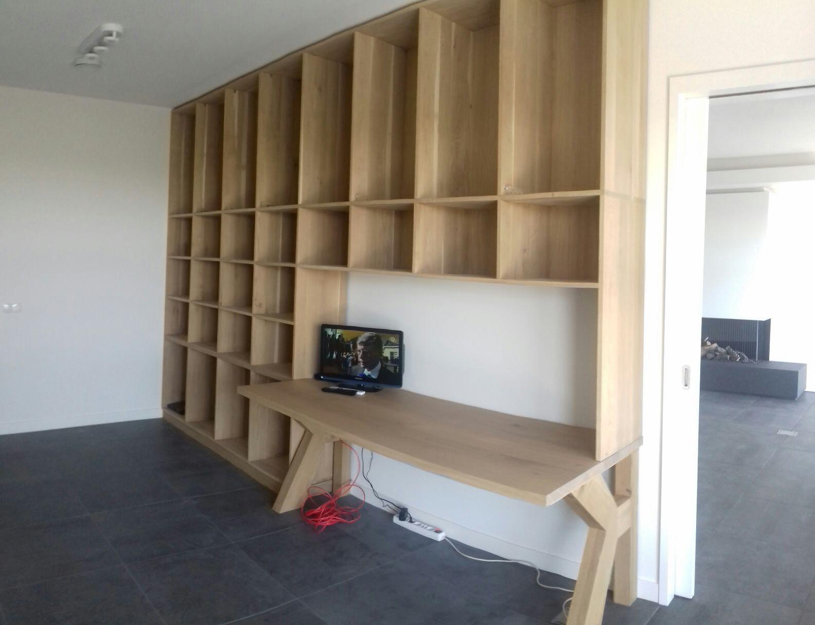 Interieur Woonkamer Eiken : Boekenkasten opmaat in iederen gewenste maat gemaakt van eiken