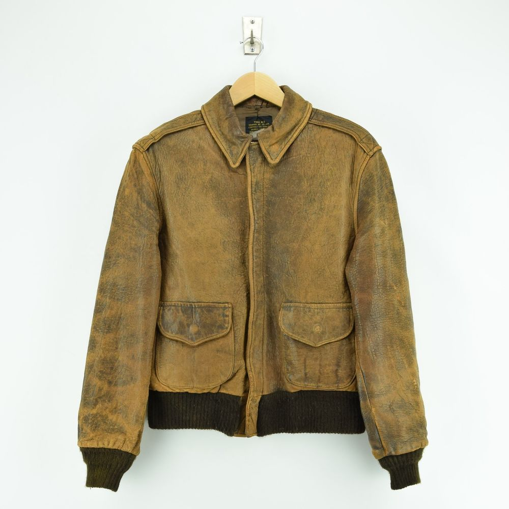 a9d7097c553 Vintage Distressed Avirex A-2 Brown Leather Flight Bomber Jacket USA Made S    M  AVIREX  BomberHarrington