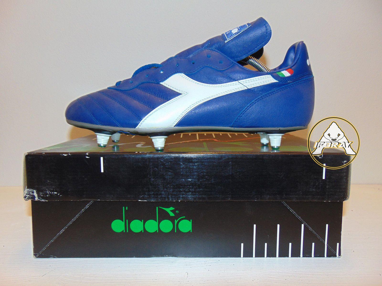 12ae82f0a Vintage 80 90 Diadora Brasil SC 44 Soccer Shoes 10 weah boots Milan 6  baggio