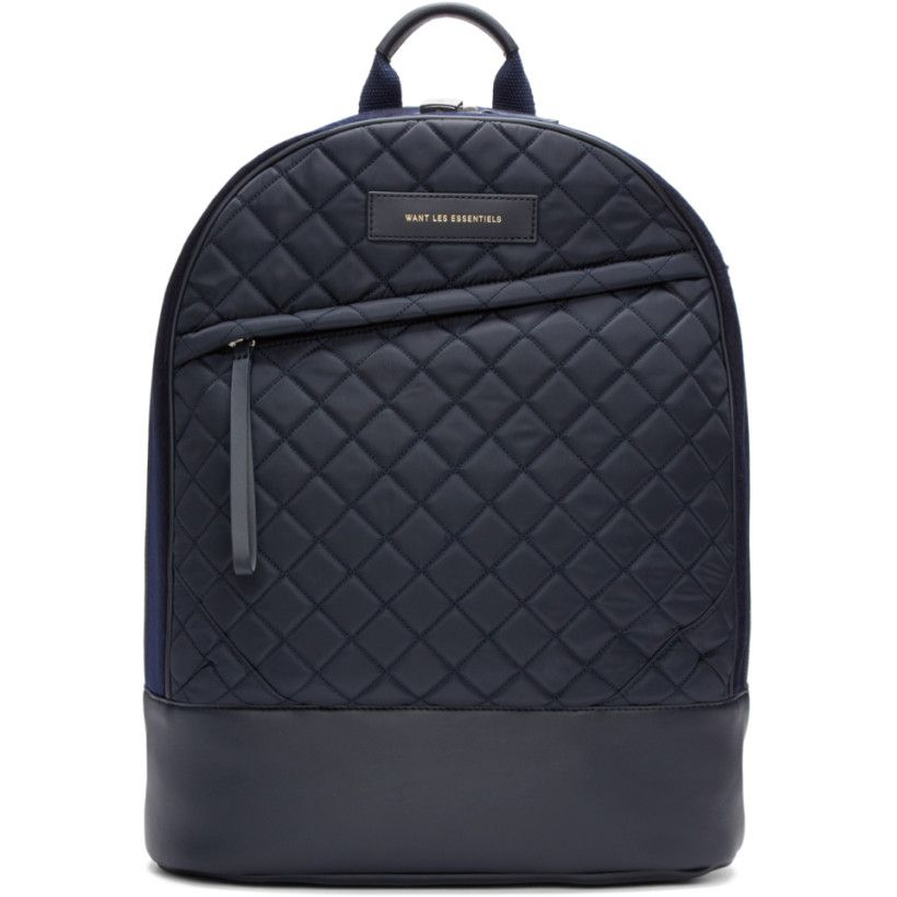 Want Les Essentiels - Navy Quilted Canvas Kastrup Backpack