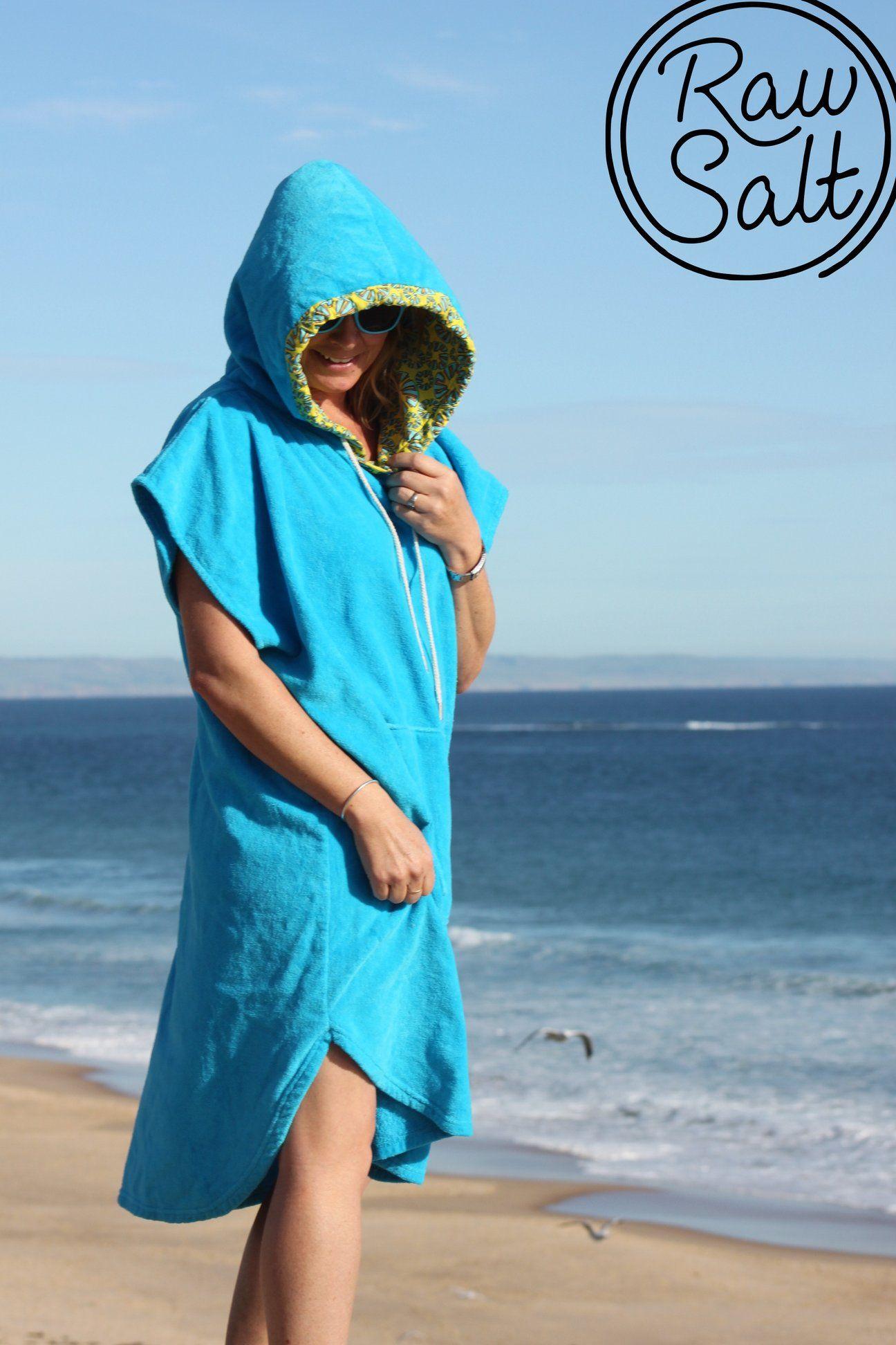 Blue Hooded Towel Surf Poncho Hooded Towel Poncho Hoods