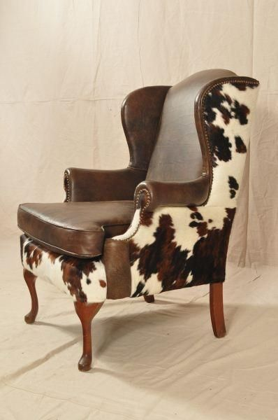 Western Wingback Leather And Cowhide Home Office In