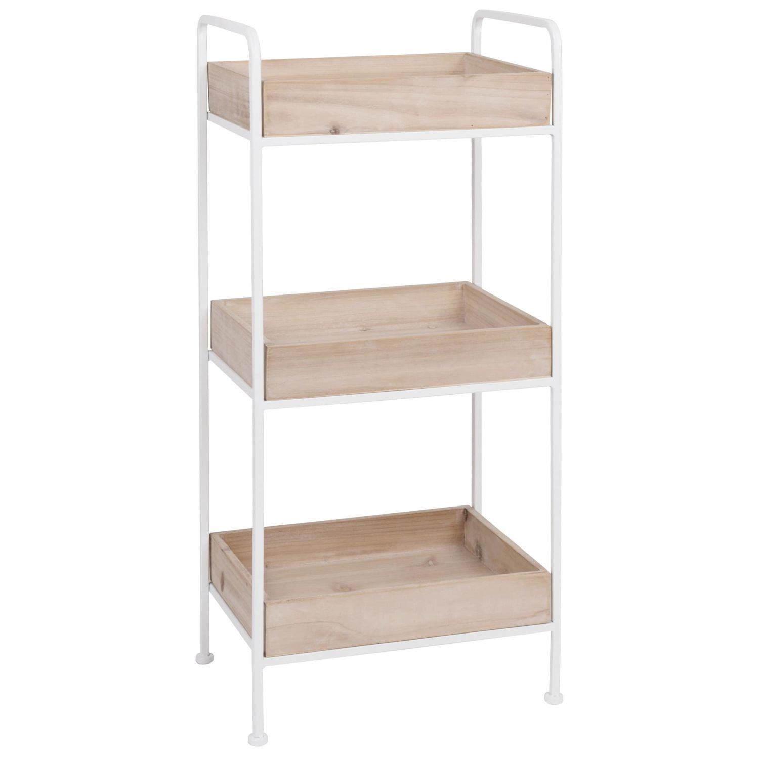 White Metal And Fir Small Storage Unit