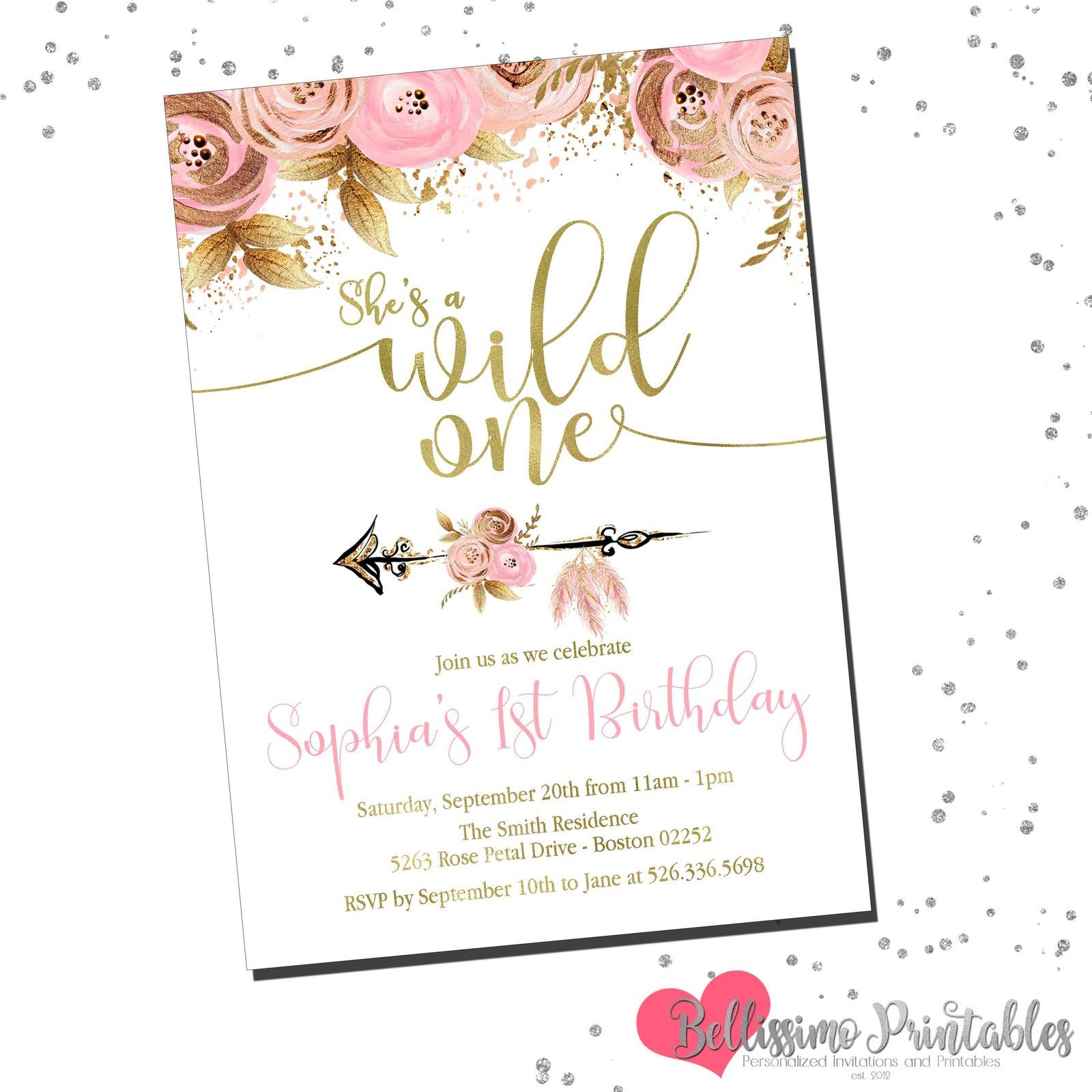 Pink Gold Floral Wild One Birthday Invitation Wild One