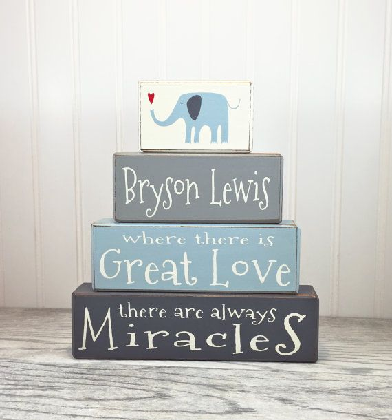 Personalized stacking wood sign blocks painted wood baptism gift new personalized baby gift wood sign blocks painted wood baptism gift new baby gift baby shower custom negle Image collections