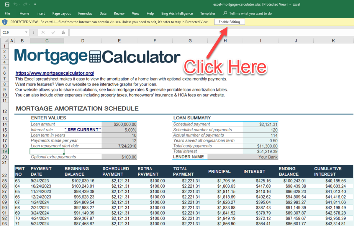 Download Microsoft Excel Mortgage Calculator Spreadsheet Xlsx