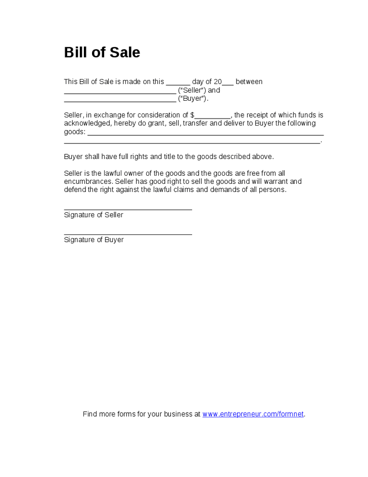 Printable Sample Blank Bill Of Sale Form  Real Estate Forms