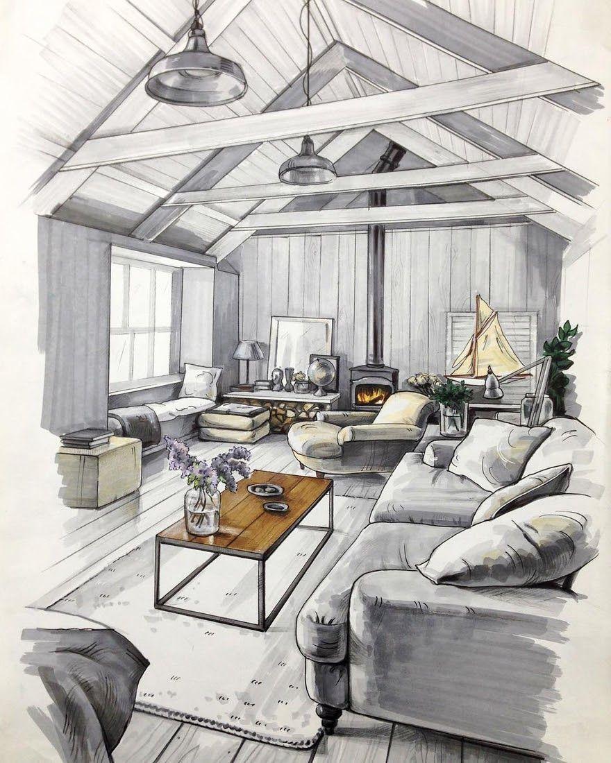 Interior Design Sketches A Source Of Inspiration Dessin Architecte Dessin Architecture Croquis Maison