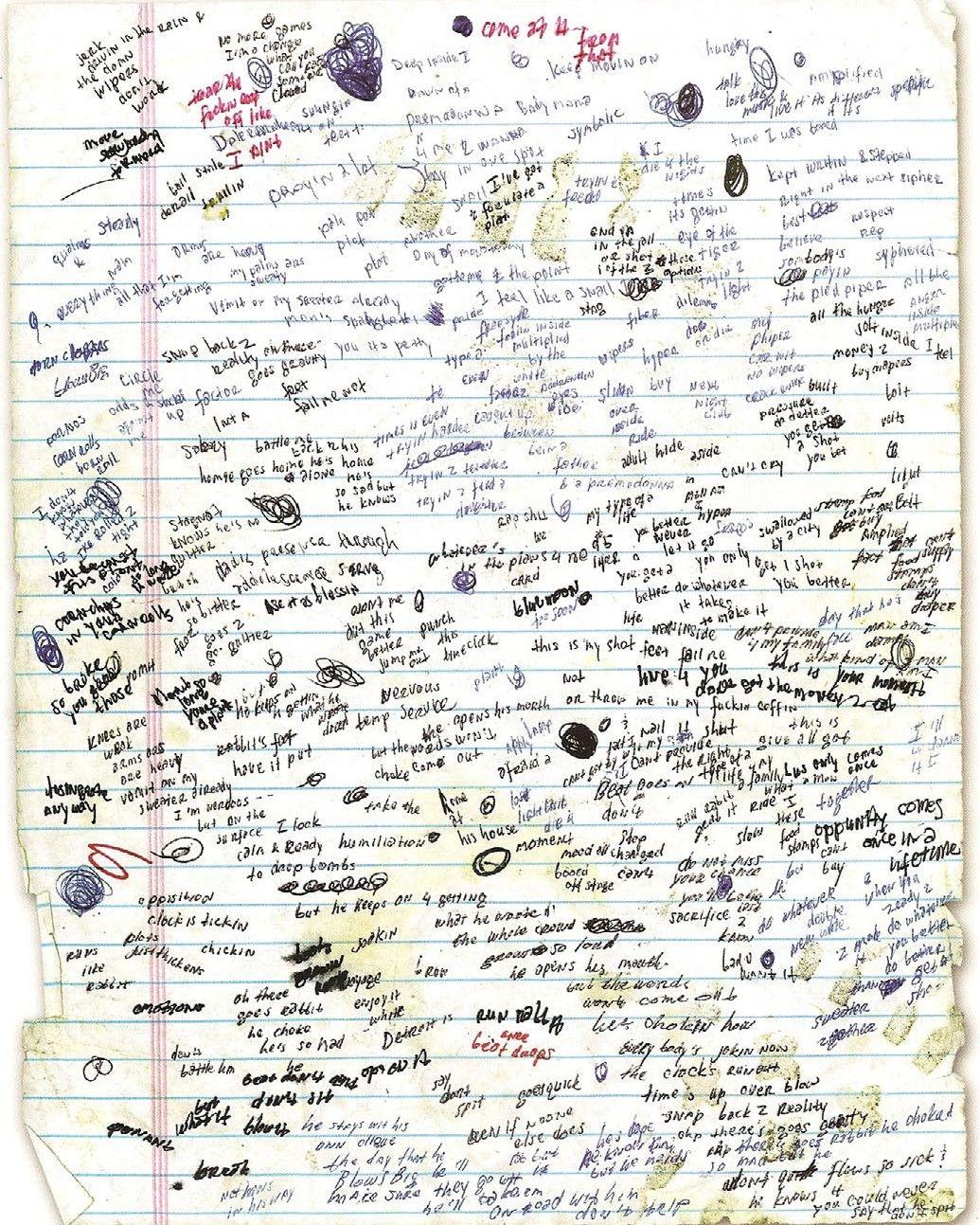 Eminems handwritten lyrics for lose yourself eminem