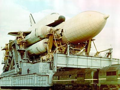 Russian Space Shuttle being transported