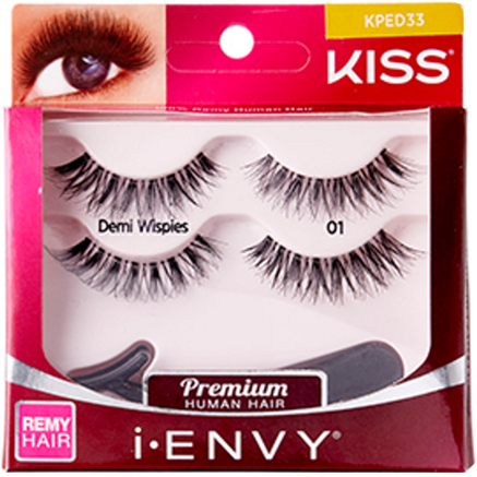 cec47dbec3d Kiss i-ENVY Premium Human Remy Hair Eyelashes 2 Pairs Pack - Demi Wispies  01 #KPED33 $4.49 Visit www.BarberSalon.com One stop shopping for  Professional ...