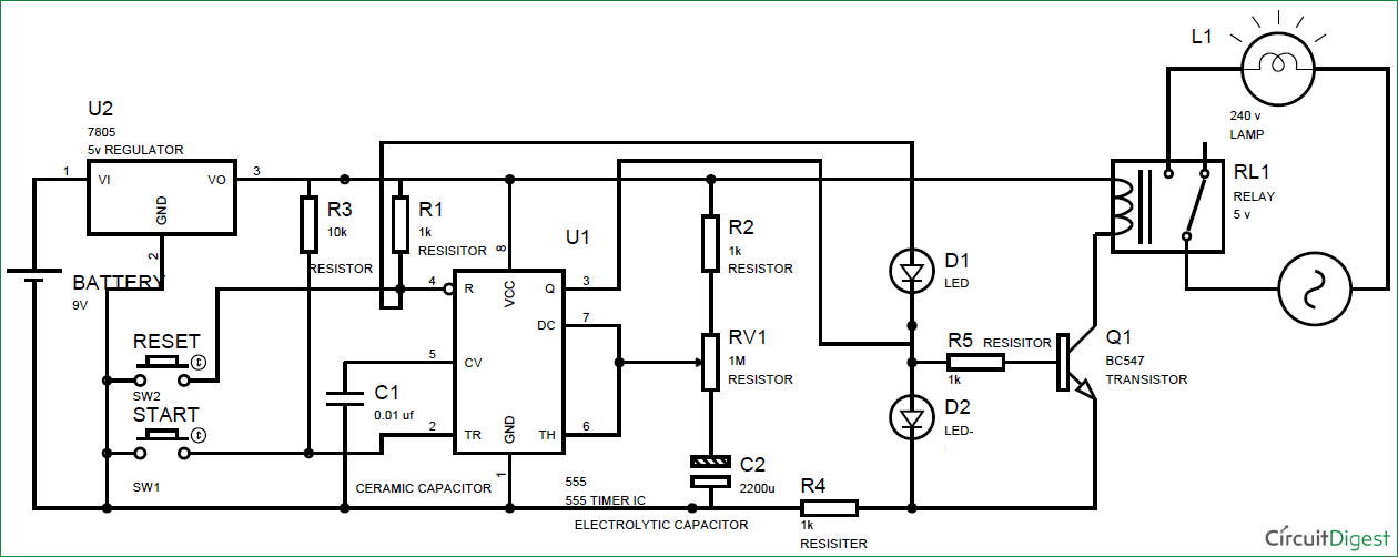 simple time delay circuit diagram using 555  with images