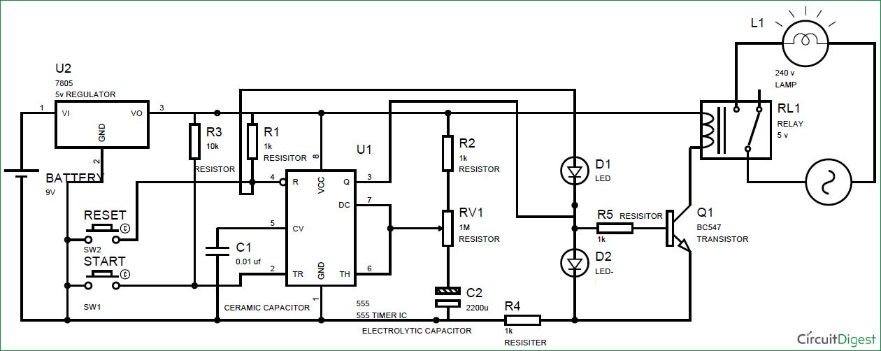 Schematic Diagram 555 Timer