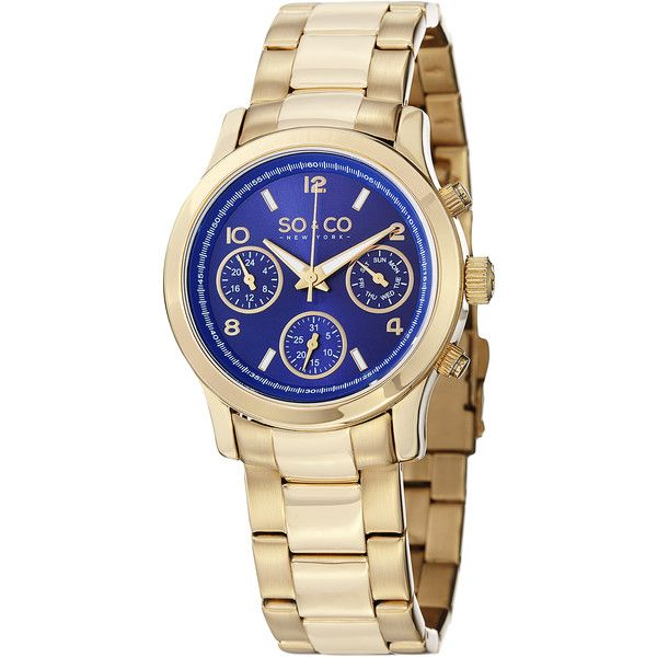So&co New York Women's Madison Quartz Gold Tone Watch with Stainless... ($45) ❤ liked on Polyvore featuring jewelry, watches, gold, quartz watches, crown jewelry, leather-strap watches, water resistant watches and stainless steel watches