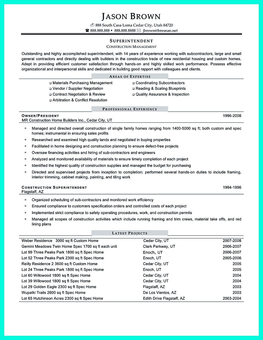 It Resume Template Construction Project Manager Resume For Experienced One Must Be
