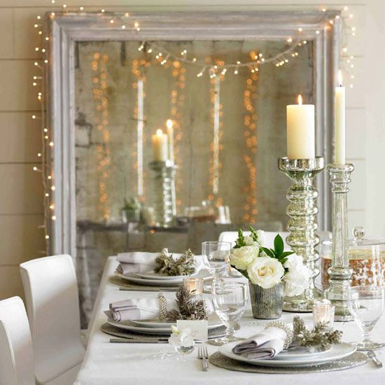Christmas dining room table decorations and centrepiece from The White Company