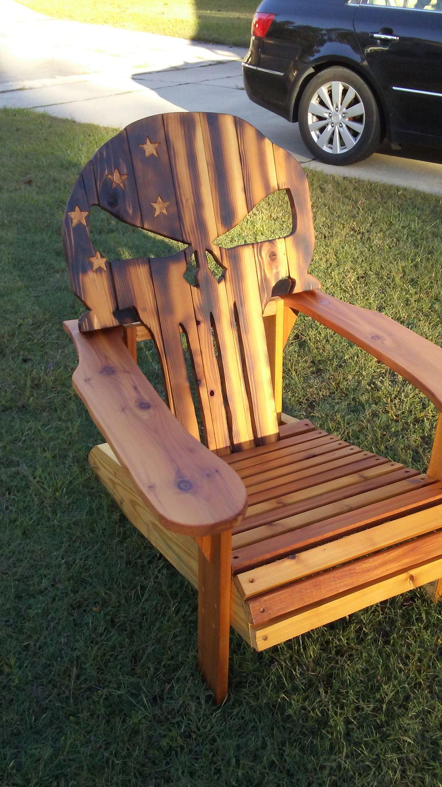 Custom made cedar Adirondack chair Diy chair, Skull