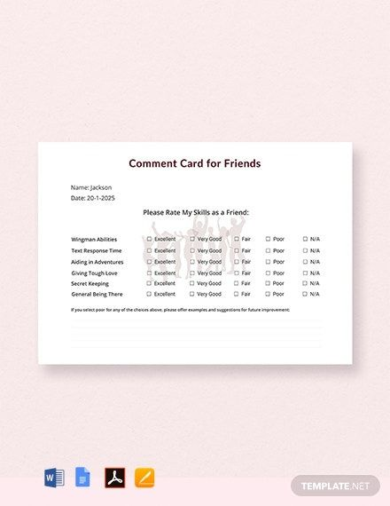 FREE Friends Comment Card Template - Word (DOC)   PSD ...
