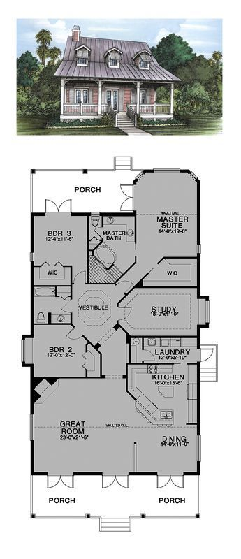 Florida Cracker Style COOL House Plan ID chp-24543 Total Living