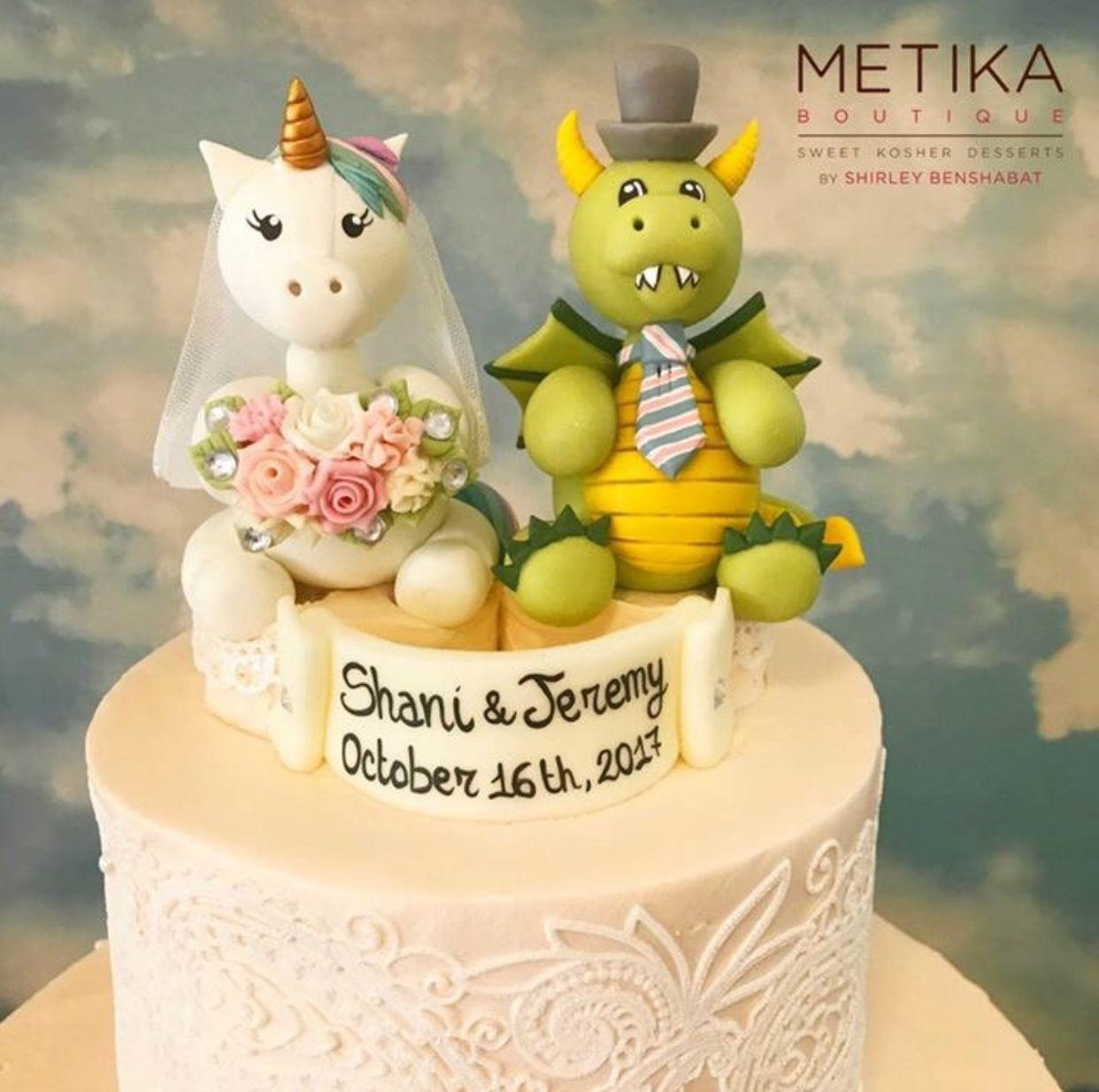Unicorn and dragon wedding cake topper, custom bride and groom cake ...