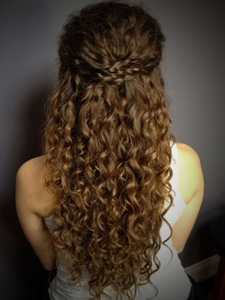 curly hairstyles half up half down bun