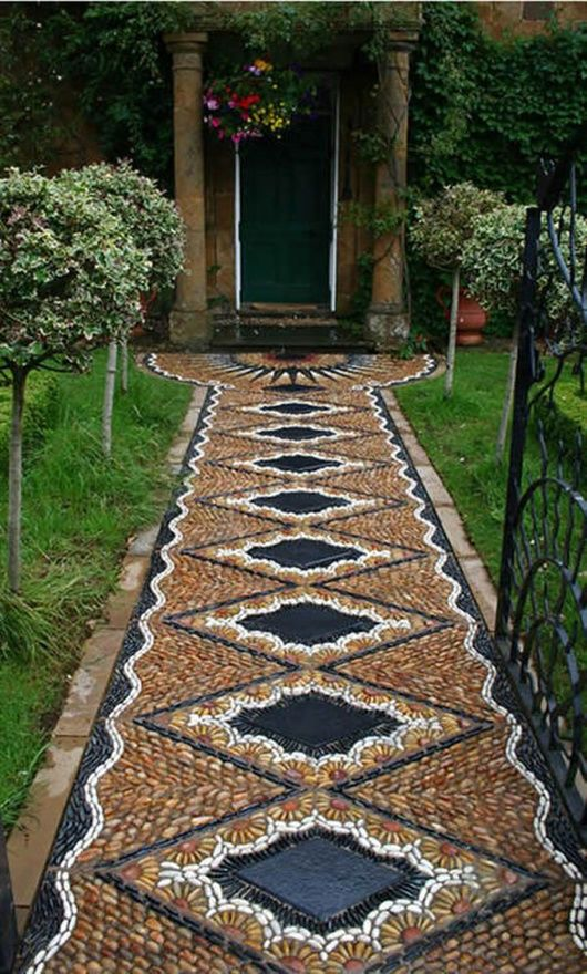 Eclectic Landscape Yard With Gl Panel Door Stone Mosaic Diy Path Tutorial Exterior Floors River Rock