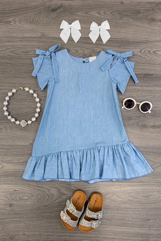 barn klänning cold shoulder denim