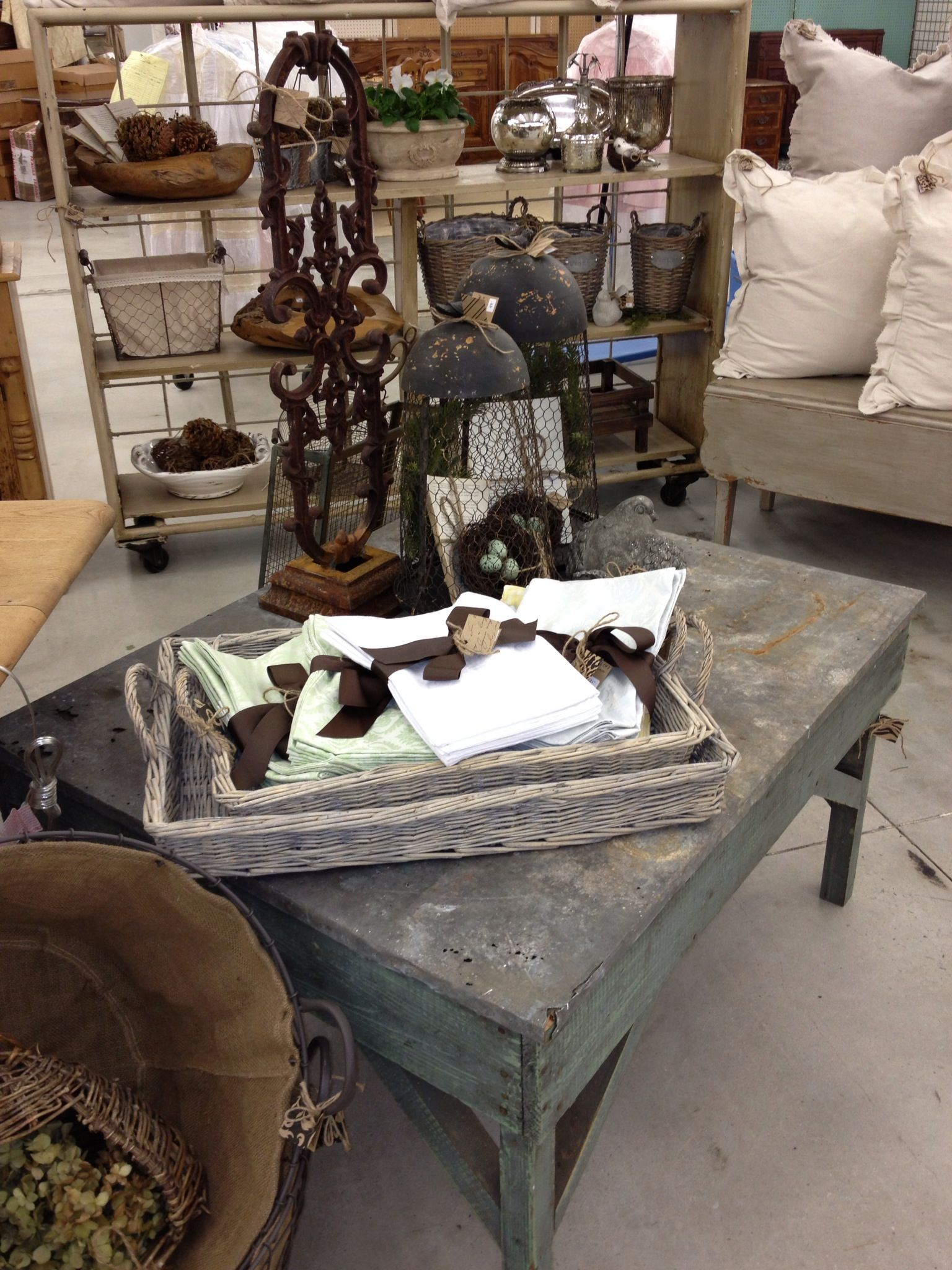zinc top coffee table scott antique market | southern shed